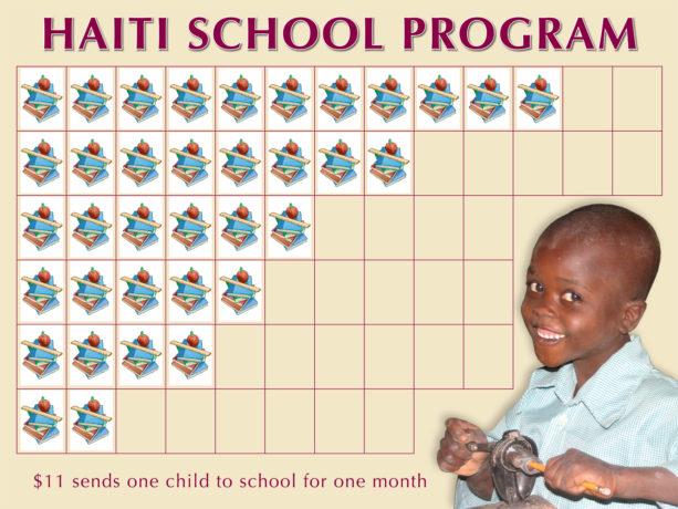 Haiti School Program chart with stickers