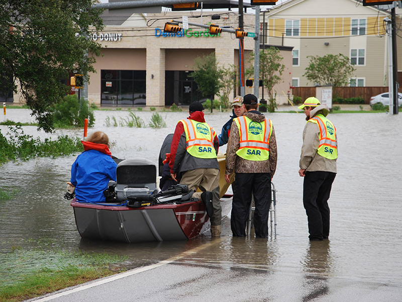 CAM teams are working long hours to bring as many people as possible to safety in Houston.
