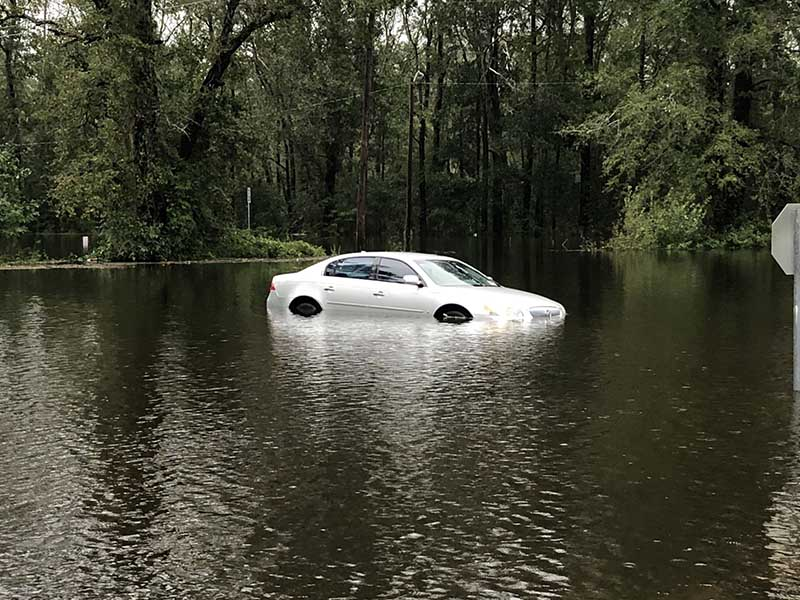 Car stranded in Florence's floodwaters