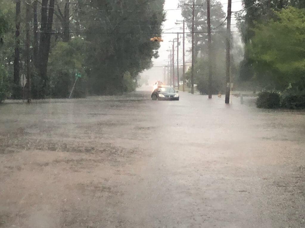 Flooded street in Lumberton, North Carolina.